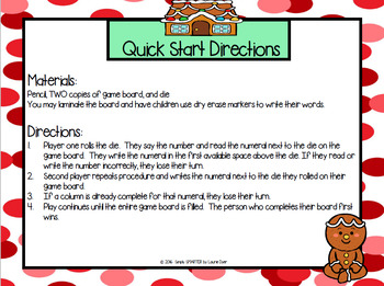 Roll, Identify, and Write:  NO PREP Gingerbread Themed Number Game