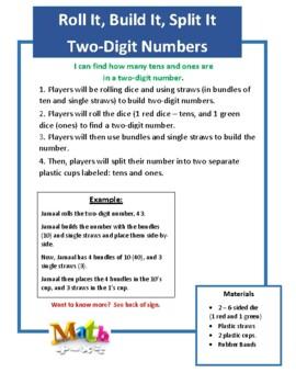 Roll It, Build It, Split It (Two Digit Numbers)