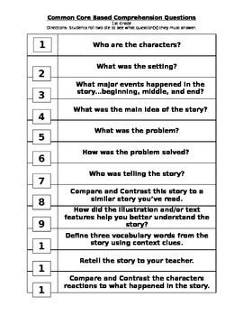 Roll It - Common Core Questions for 1st Grade