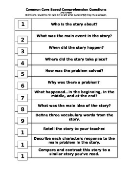 Roll It - Common Core Questions for 2nd Grade