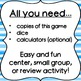 Dice Game for Math Centers - 1-digit Addition