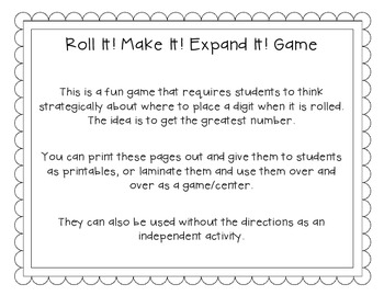 Roll It Make It Expand It Math Game