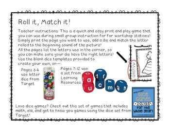 Roll It, Match it: A Beginning Letter Sound Dice Game