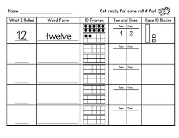 Roll It Math Fluency Sheet: Morning Work, Center Activity and More!