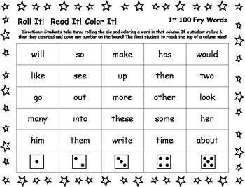 Roll It!  Read It!  Color It! - 1st 100 Fry Words