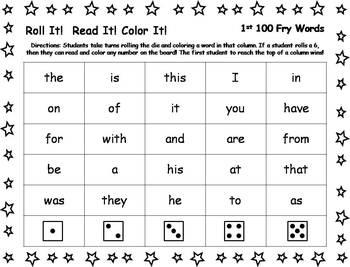 Roll It!  Read It!  Color It! - 1st 100 Fry Words