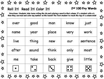 Roll It!  Read It!  Color It! - 2nd 100 Fry Words