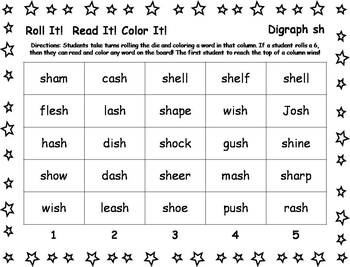 Roll It!  Read It!  Color It! - Digraph SH words