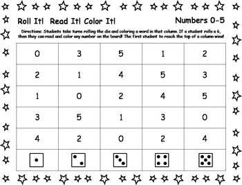 Roll It!  Read It!  Color It! - Numbers 0-20
