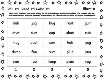 Roll It!  Read It!  Color It! - Short U Words