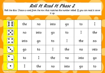 Roll It Read It (Tricky Words Version)