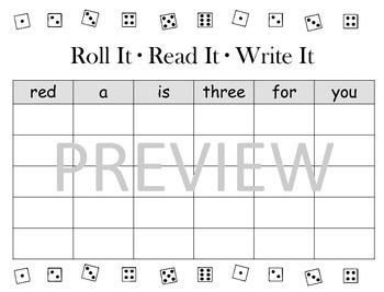 Roll It, Read It, Write It Pre-Primer Sight Words
