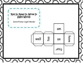 Roll It, Read It, Write It Primer Sight Words
