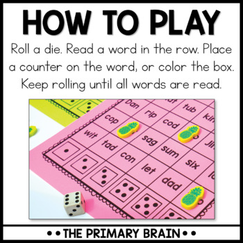 Roll It, Read It, and Color It - CVC Word Activity