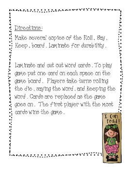 Roll It, Say It, Keep It!  (First Grade Sight Words)