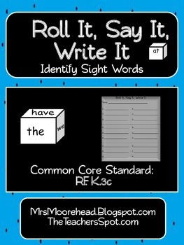 Roll It, Say It, Write It Sight Word Game {Common Core RF.K.}