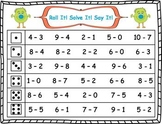Roll It!  Solve It!  Say It! Subtraction Facts Fluency (0-10)