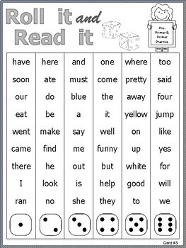 Roll It and Read It Sight Word Cards