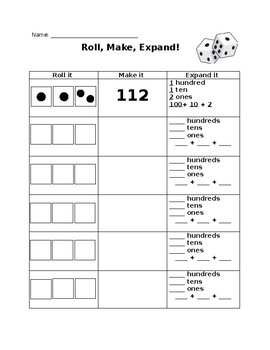 Roll, Make, Expand Place Value Worksheet