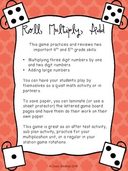 Roll, Multiply, Add Game - upper grades multiplication practice {PRINT and GO!}