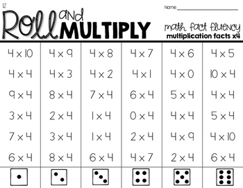 Roll & Multiply - Math Fact Fluency up to 10
