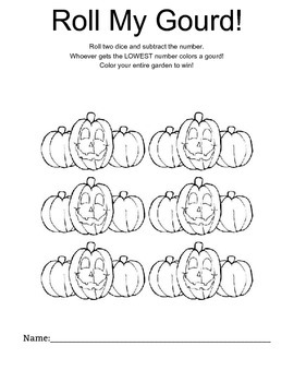 Roll My Gourd dice game- Subtraction