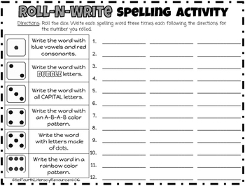 Roll-N-Write Spelling Activity