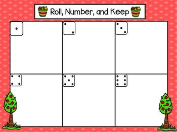 Roll, Number, and Keep:  LOW PREP Apple Themed Roll, Say, and Keep Activity