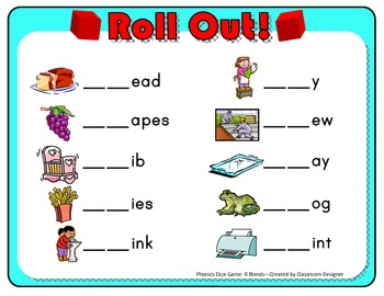 Roll Out! Phonics Dice Game for R Blends