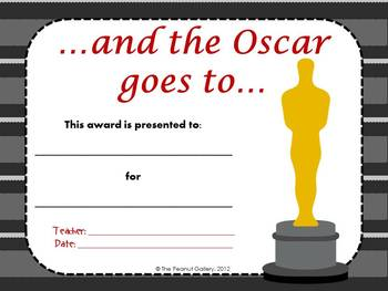 Roll Out the Red Carpet:  Hollywood Theme Awards