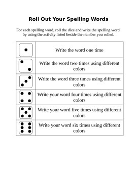 Roll Out your Spelling Words