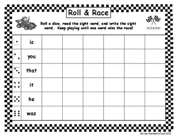 Roll & Race - Fry's 100 Sight Words - Preview (FREEBIE)