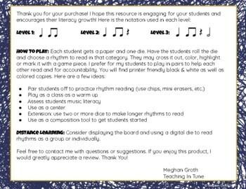 Roll & Read! A Rhythm Reading Game!