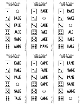 Roll & Read Cards - Long Vowels
