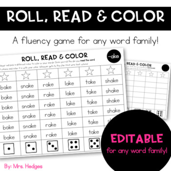 Roll, Read & Color: Editable Word Families