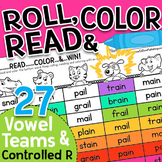 Roll, Read & Color: Vowel Teams & Controlled R Worksheet Games