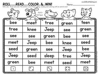 Roll, Read & Color: Vowel Teams & Controlled R Worksheet Games