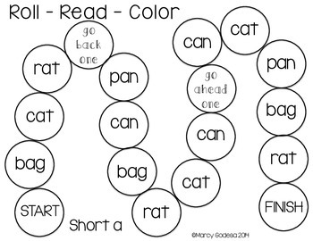 Roll Read Color and Roll Read Write {Short Vowel}