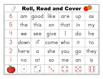 Roll Read Cover Word Wall Words Harcourt Kindergarten High Frequency Words Game