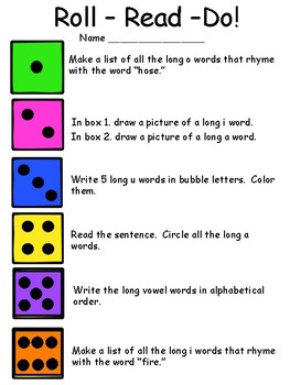 Roll-Read-Do Long Vowel Activity