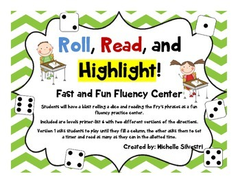 Roll, Read, Highlight!  A Fast and Fun Fluency Center!