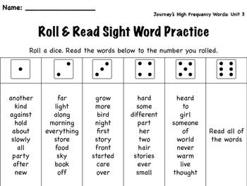 Roll & Read- Journey's Unit 3