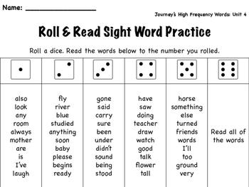 Roll & Read- Journey's Unit 4