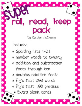 Roll, Read, Keep: Sight Words, Sight Phrases, and Math Facts