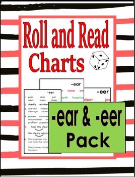 Roll & Read -ear & -eer - COLOR & B/W  (aka - Toughy Charts)