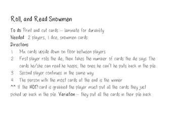 Roll, & Read Snowmen