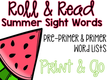 Roll & Read - Summer Sight Words