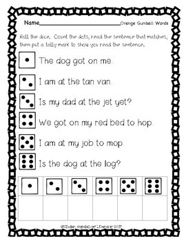 Roll- Read -Tally- Gumball Sight Words