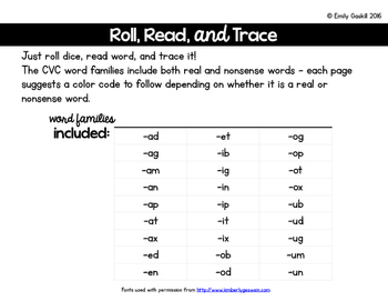 Roll, Read, Trace CVC Word Families