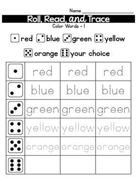 Roll, Read, and Trace Color Words